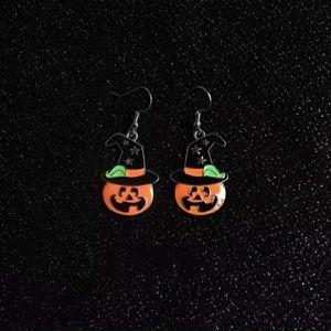 Jack-O-Lantern w/Witch Hat Earrings